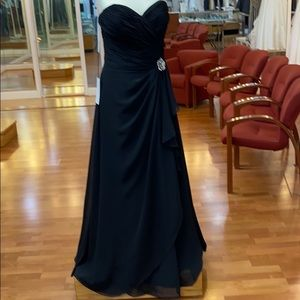 Black bridesmaid dress with rhinestone rose
